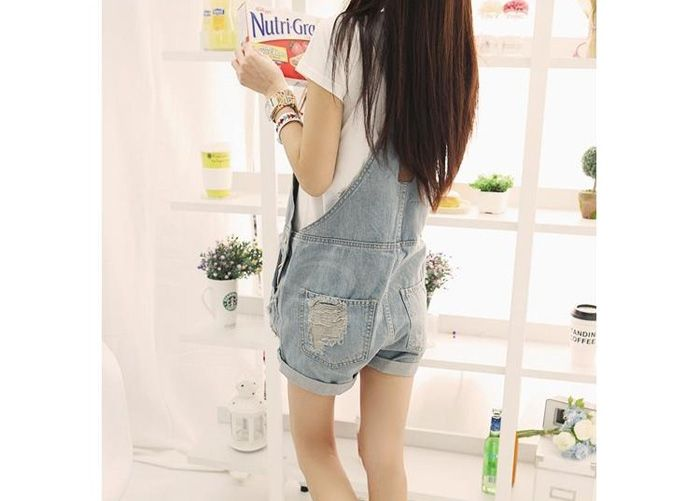 Wholesale Loose Fit Destroyed Denim Cheap Jeans Overalls Shorts For Women (AS THE PICTURE,L), Shorts - Rosewholesale.com