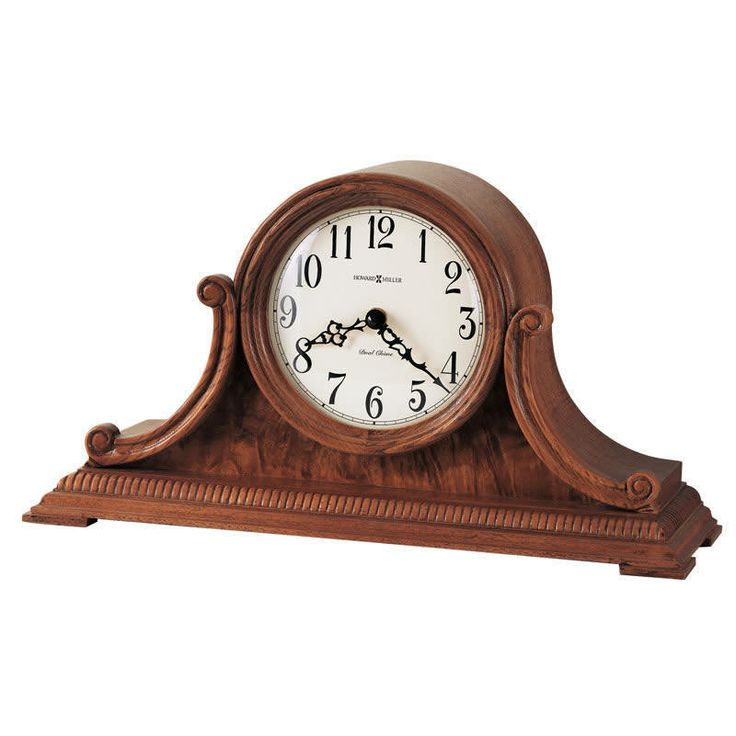 Aged Dial Scroll Carved Oak Dual Chime Mantel Clock   635113 Howard Miller