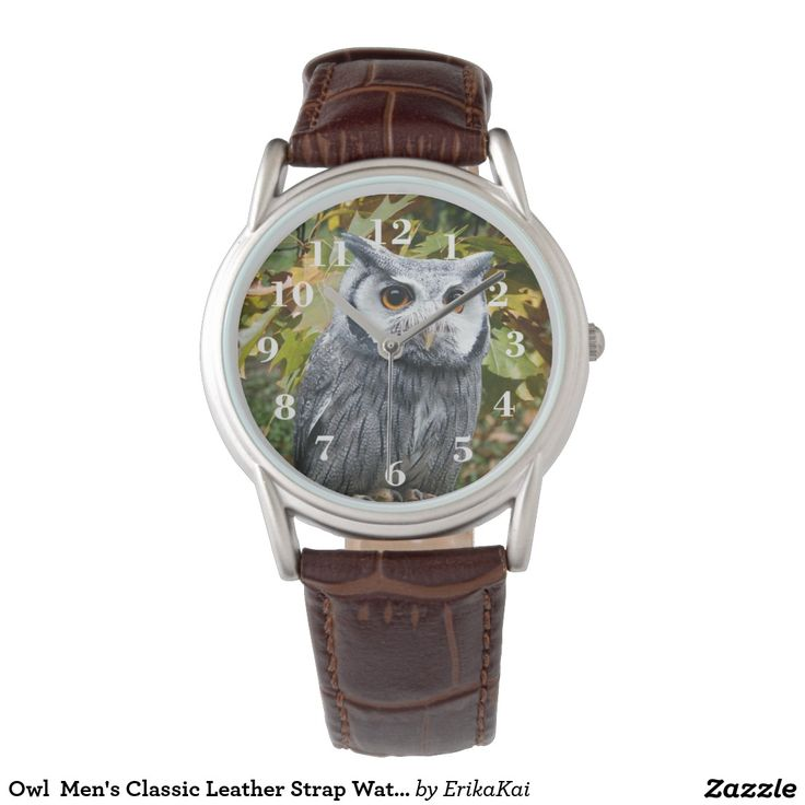 Owl  Men's Classic Leather Strap Watch