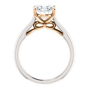 Two-tone engagement ring with surprise bow gallery accent! Click through for more options.