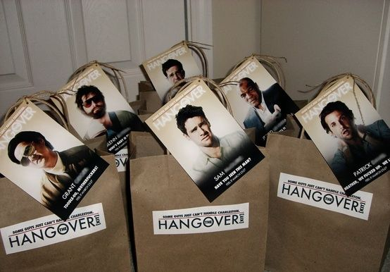Hangover kits to send with the fiance the night of the bachelor party.: Minis Bottle, Gifts Ideas, Grooms Gifts, Hangover Kits, Groomsman Gifts, Bachelor Parties, Parties Ideas, Bridal Parties, The Hangover