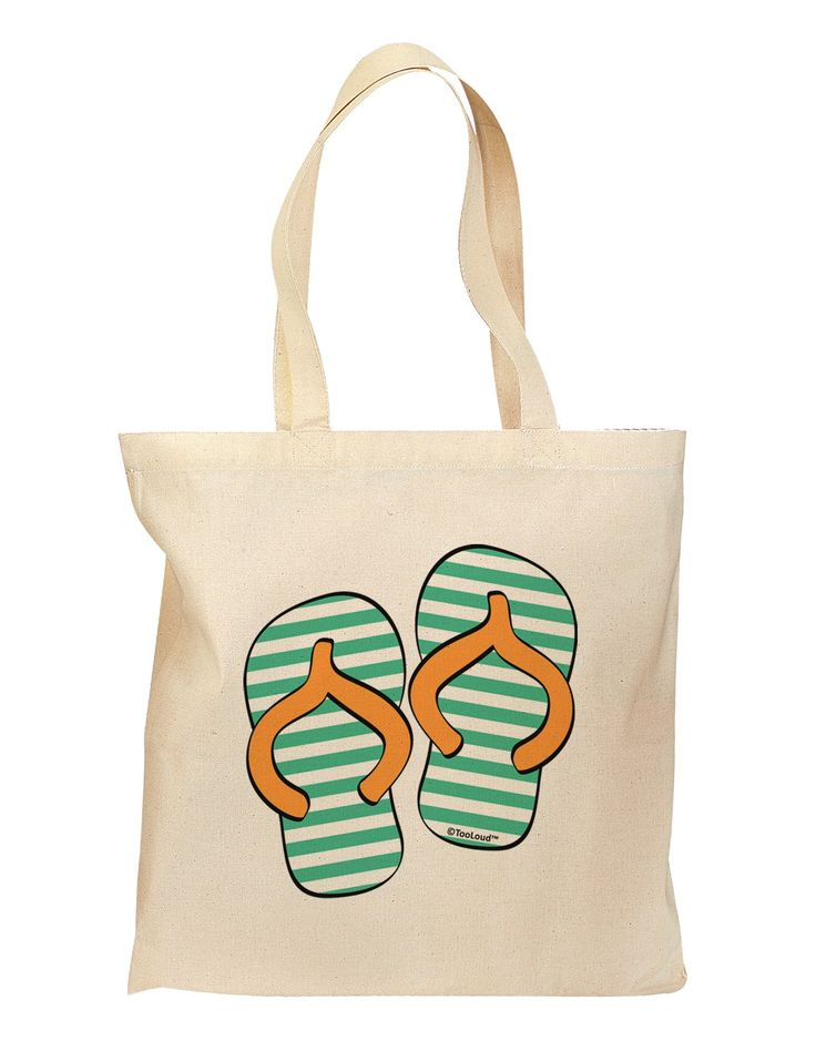 Striped Flip Flops - Teal and Orange Grocery Tote Bag