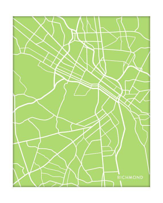 Richmond, VA City Map Wall Print / VCU University Art / 8x10 / Choose your color. $18.00, via Etsy.