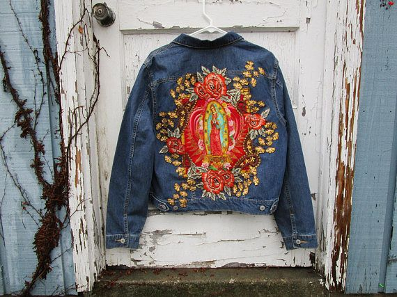 Large Virgen de Guadalupe Distressed Denim Jean Jacket// Virgin Mary// Religious Icon// emmevielle