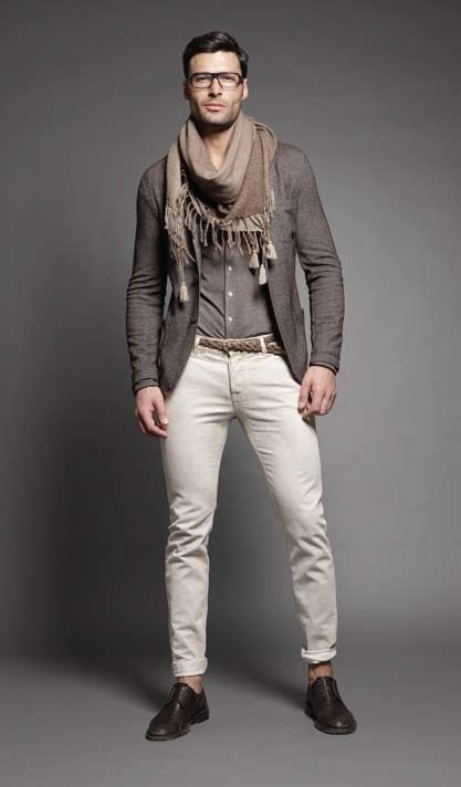 Shop this look on Lookastic:  http://lookastic.com/men/looks/scarf-long-sleeve-shirt-blazer-chinos-derby-shoes/8065  — Brown Scarf  — Charcoal Long Sleeve Shirt  — Charcoal Blazer  — Beige Chinos  — Dark Brown Leather Derby Shoes