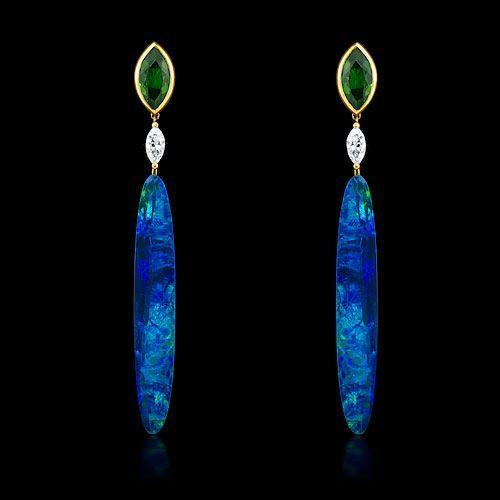 Australian Opal, Tsavorite and Diamond Earrings