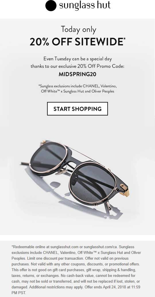 graphic relating to Sunglass Hut Printable Coupon referred to as Pinned April 24th: 20% off something on-line at #SunglHut