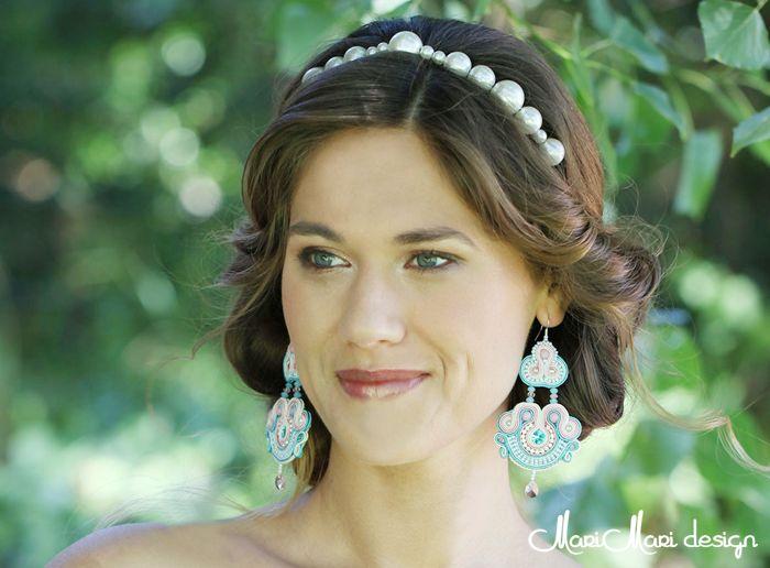#brincos #earrings #bridal #swarovski #soutache #light blue and rose #azul claro e cor de rosa claro