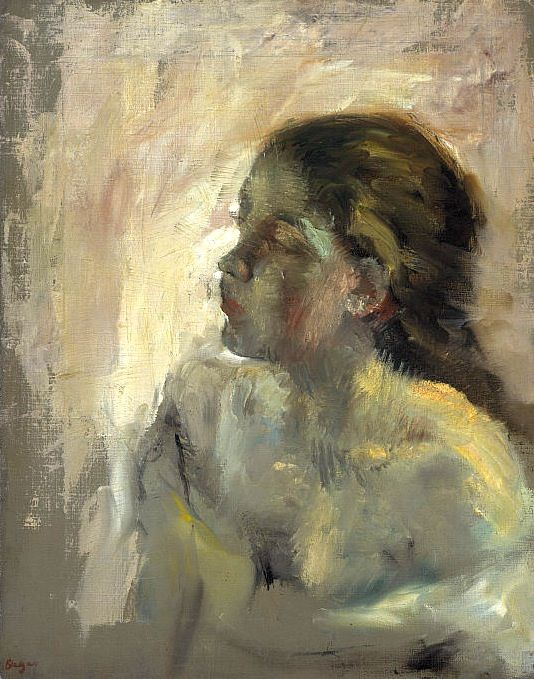 """A Study of a Girl's Head"" - Edgar Degas (French, 1837–1917), oil on canvas, c. 1880 {human figurative female décolletage woman face profile portrait painting #nineteenthcentury #twentiethcentury #arthistory}"