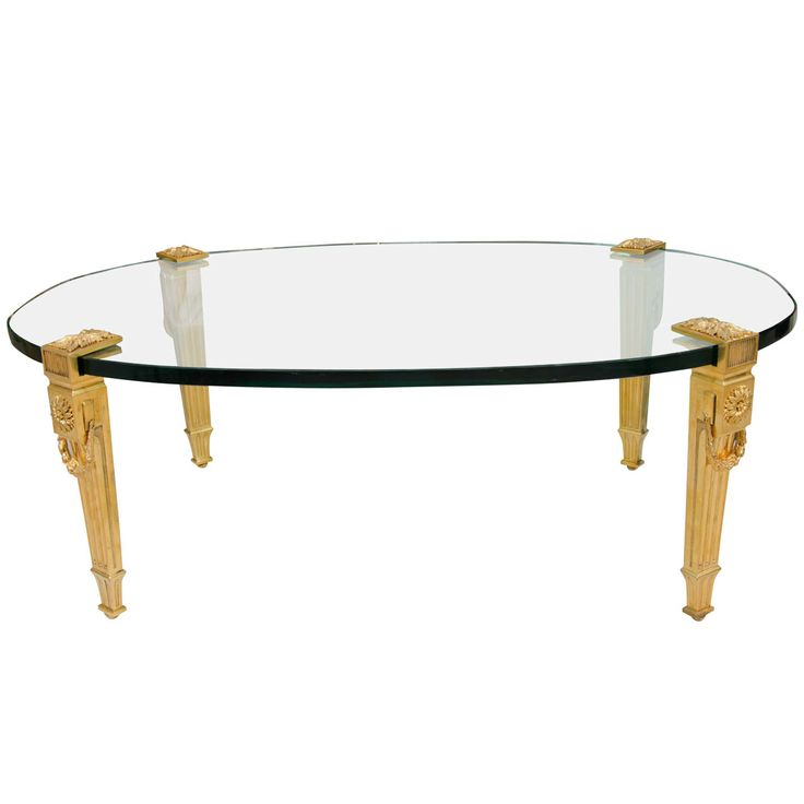 Oval Glass Top Cocktail Table With Gilt Bronze Legs By P.E. Guerin Photo