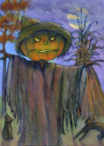 'Pumkinhead' scarecrow autumn cat art by Kathe Soave ACEO art card