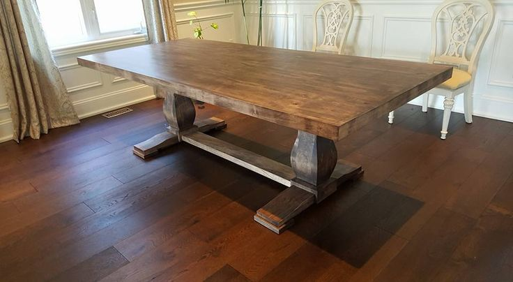 Wormy Maple Harvest Table with Pedestal base and Espresso Stain