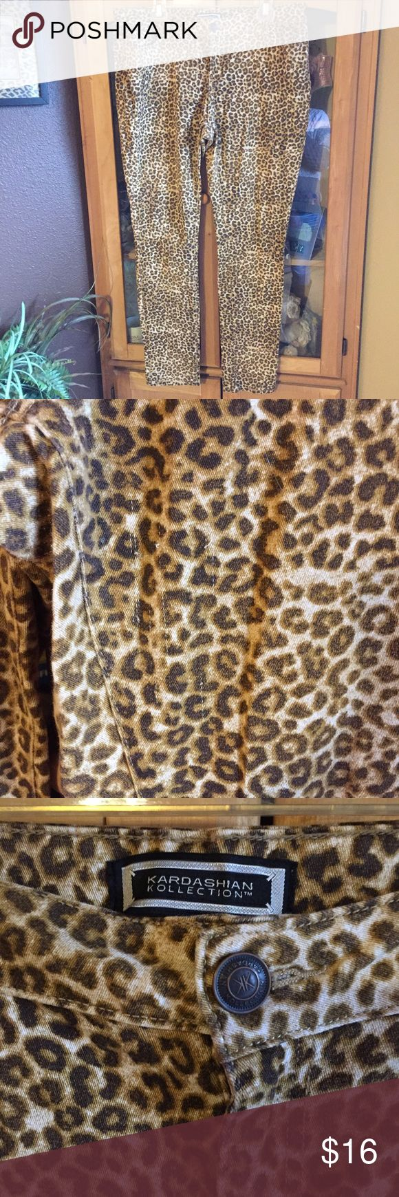 Kardashian Kollection leopard print Awesome leopard print with Kardashian Kollection hardware. These also have some stretch to them. See pic two for a few factory defects that are not very noticeable. They are like 3 tiny snags but are so light you really have to look for them. Price adjusted. Non smoking home. Kardashian Kollection Pants