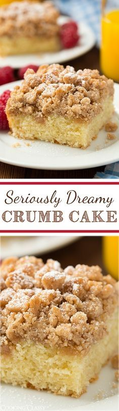 Crumb Cake - this is my FAVORITE breakfast cake! It has tons of cinnamony crumbs and the cake is so soft and moist. Cake for boss #cakewithcream #sweet