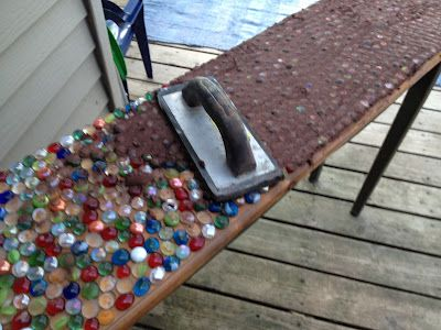 Marble Mosaic Table Top--fun idea, just make sure the marbles are in good!