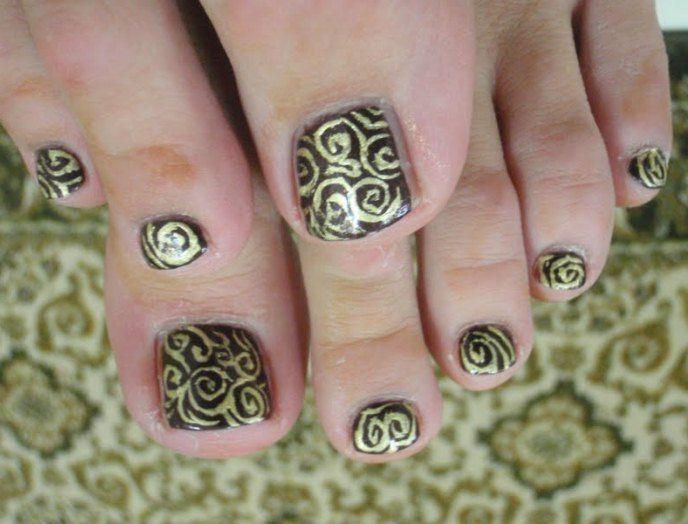 toe nail art designs step by step