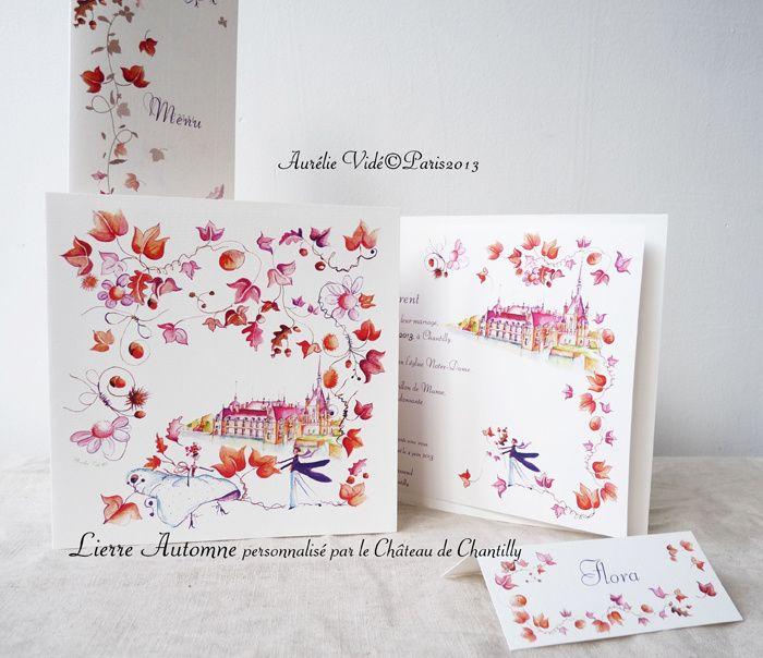 Vous vous marier en automne ! voici un faire-part Automne pour septembre,octobre, novembre , ici personnalisé du lieu du mariage à Chantilly. un faire-part aux tons d'Automne, plié et son texte à l'intérieur personnalisable, Ce faire-part est accompagné...