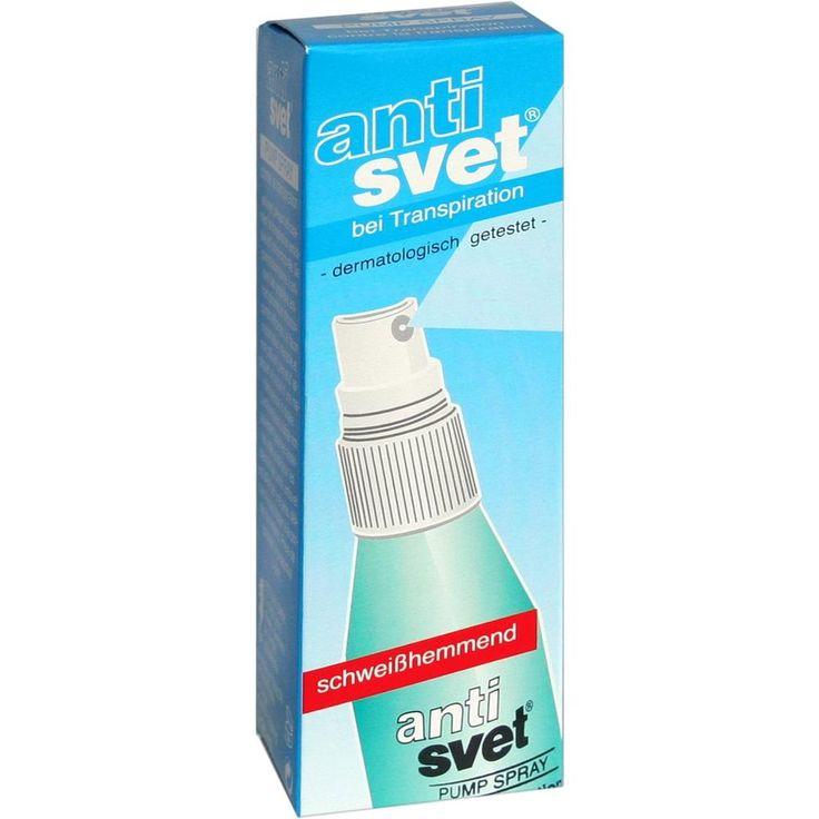 ANTISVET bei Transpiration Pumpspray:   Packungsinhalt: 50 ml Körperpflege PZN: 02329106 Hersteller: carenow GmbH Preis: 2,34 EUR inkl.…