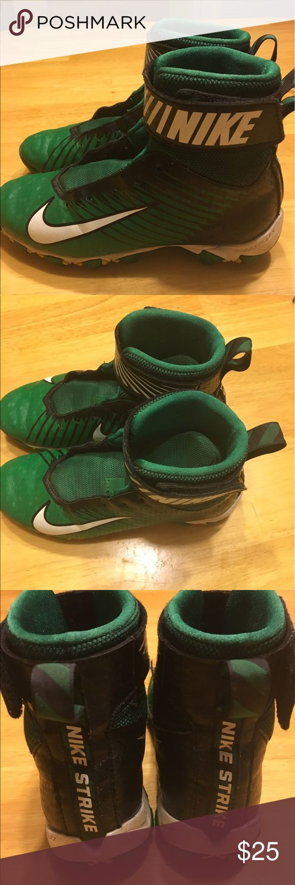 Boys football cleats Nike Nike Strike high top football cleats - green and black. Boys size 2 - only worn half a season. Good condition with lots of life left. Just needs shoestrings. Nike Other
