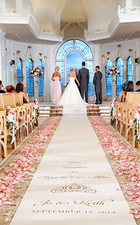 Pink rose petals lined the aisle during this ceremony at Disney's Wedding Pavilion #wedding #Disney