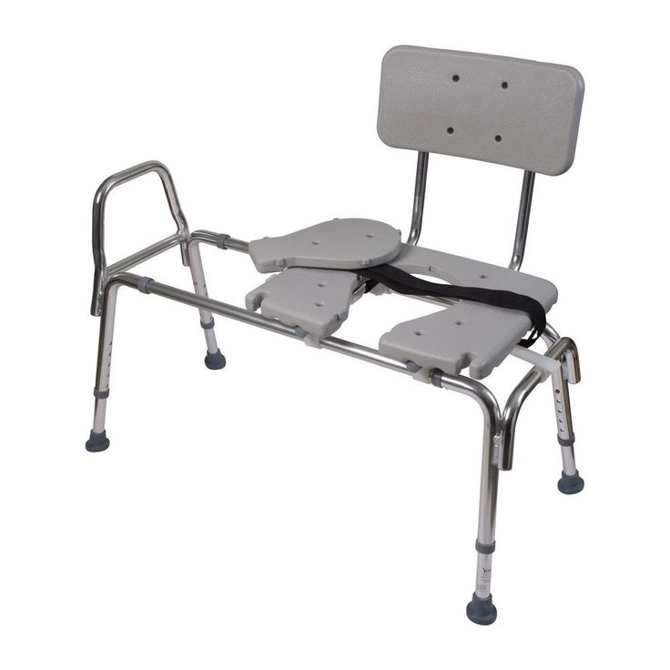 "Heavy Duty Sliding Transfer Bench with Elongated Seat 24"" 400lbs Removable Back  #HeavyDutySlidingBench"