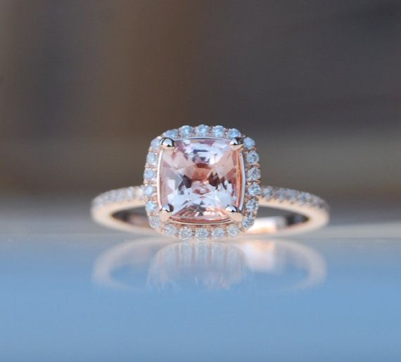 1.55ct Square Cushion Peach Pink Champagne Sapphire 14k rose gold diamond  Engagement Ring on Etsy, $1,800.00