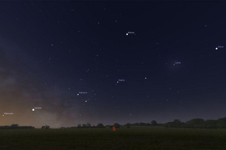 Giove, Marte, Saturno, Venere e Mercurio, tutti in fila. Sono i cinque pianeti più luminosi, visibili a occhio nudo nel cielo, 'appesi' a un