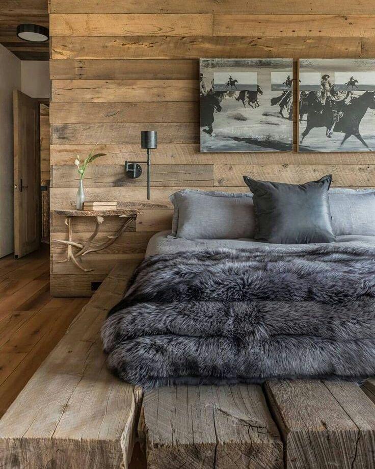 Inspiration Instagram Si Vous N Avez Pas Eu La Chance De Partir Au Ski Ou Que Vous Etes Nostalgique Design Chambre Rustique Deco Chambre Chalet Deco Maison