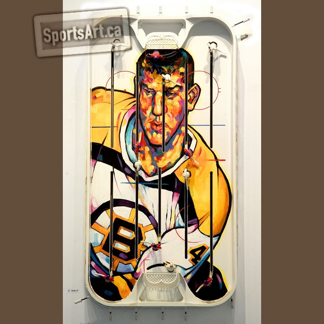 """Artist Anthony Jenkins second portrait of Bobby Orr for his """"Game Faces"""" table hockey painting exhibition."""