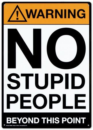 "Warning : No Stupid People Beyond This Point, Metal Tin Sign, Size 8"" X 12"""