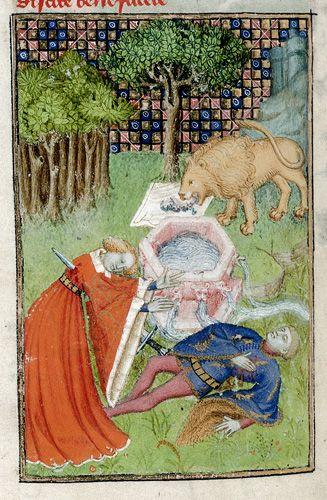 Harley 4431   fol 112v detail   (Thisbe and Pyramus). Paris, France 1410-1414.