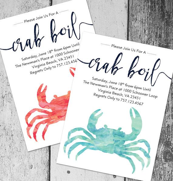 Crab Boil Invitation | Printable Crab Boil Invite, DIY Summer Party Invitation, Seafood Boil  Purchase this listing to receive a customized high