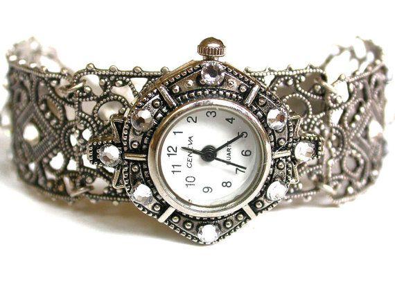 Silver Watch Women Bracelet Watch Filigree Ladies by LeBoudoirNoir