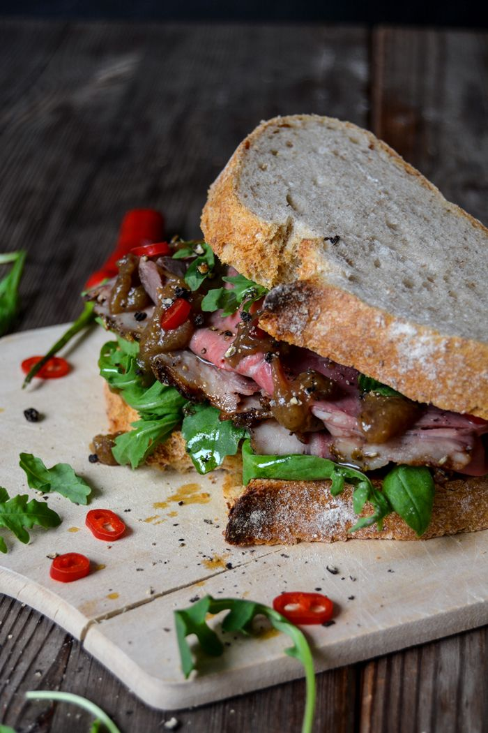Spicy Roast Beef and Rhubarb Chutney Sandwich ° eat in my kitchen