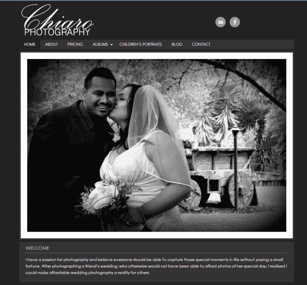 Chiaro Affordable Photography. An affordable website for an affordable photographer.
