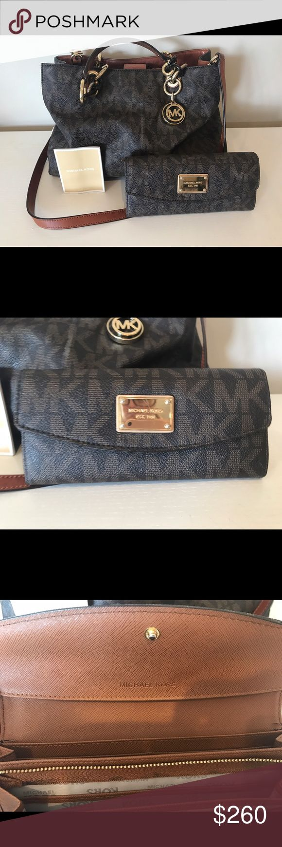 Matching Michael Kors Purse & Wallet Bought at Macy's last year; love this set, but needed something more practical with a baby! Smoke free home! .. wallet does have small scratch on surface of emblem. Bought the wallet for $198, purse was $298 Michael Kors Bags Satchels