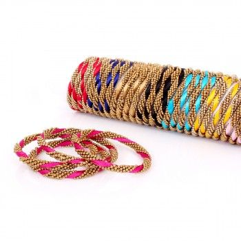 Silk Thread Bangles (Set of 4), WBZ022,