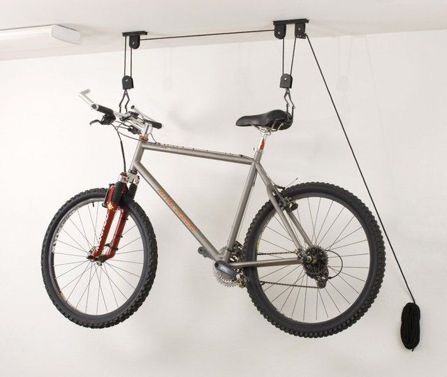 Ceiling-Mounted #Bike #Lift - $28 / This Ceiling-Mounted Bike Lift from Racor makes use of a simple system of pulleys to help you haul your bike up to the ceiling without breaking a sweat. http://thegadgetflow.com/portfolio/ceiling-mounted-bike-lift/