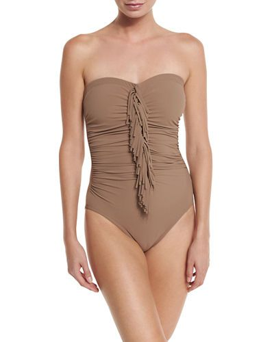 Karla Colletto Fringe-Front Bandeau One-Piece Swimsuit Reviews