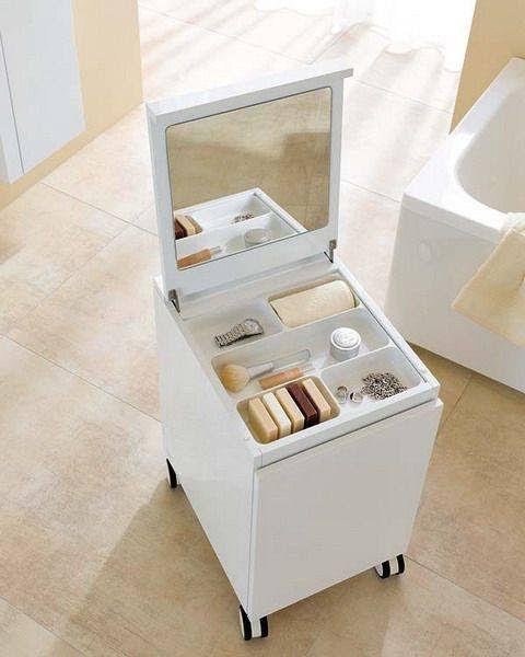 Carpintería Graña: Cubo organizador para baño. Con espejo y divisiones.