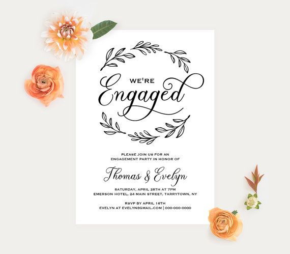 Mer Enn  Bra Ideer Om Engagement Invitation Template  Bare P