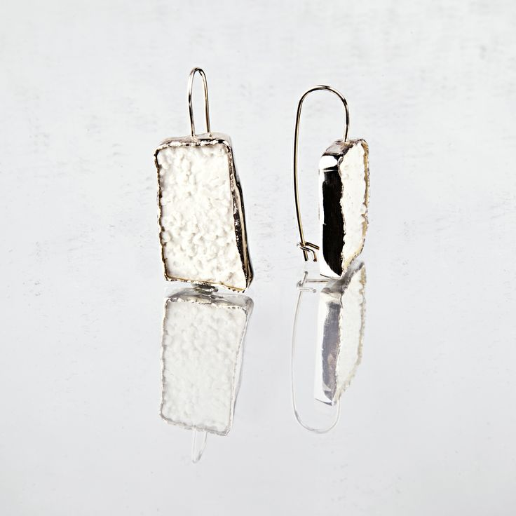 earrings in silver and porcelain; unique piece