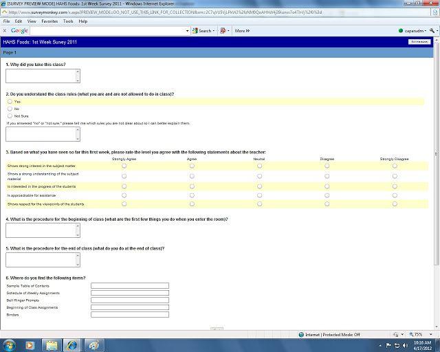 Use Survey Monkey for student feedback