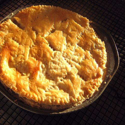 golden color from buttering or maybe even apricot jelly, you name it... - Acadian Meat Pie