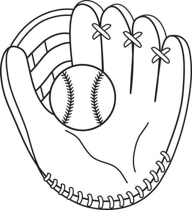 Softball And Glove Coloring Sheet Baseball Coloring Pages Sports Coloring Pages Bat Coloring Pages