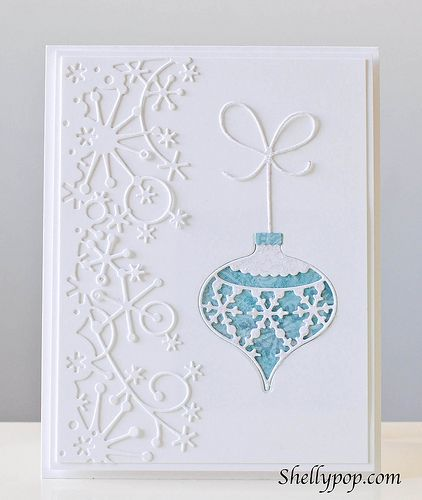 I combined Snowflake Ornament, Classic Ornament, Crisp Bows and the snowflake border.  I added Stickles to the ornament and bow to give it some sparkle and layered it on white card stock.