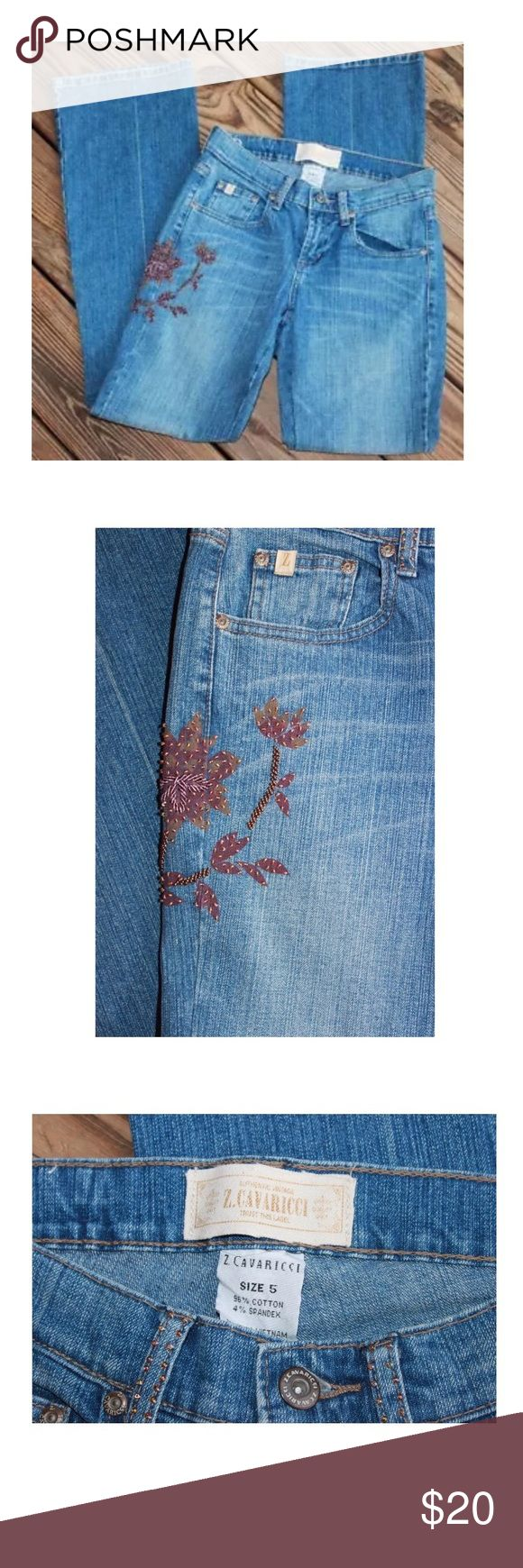 "Z Cavaricci Jeans Women's Regular Up for bid is Z Cavaricci Jeans 5 Floral Beaded Painted Medium Wash Women's Cotton Spandex AM  These jeans have no holes, stains, tears or smelly things!  :)    Measurements taken while jeans are laying flat:  Waist:  14""  Drop:  7.5""  Inseam:  32"" Jeans Straight Leg"