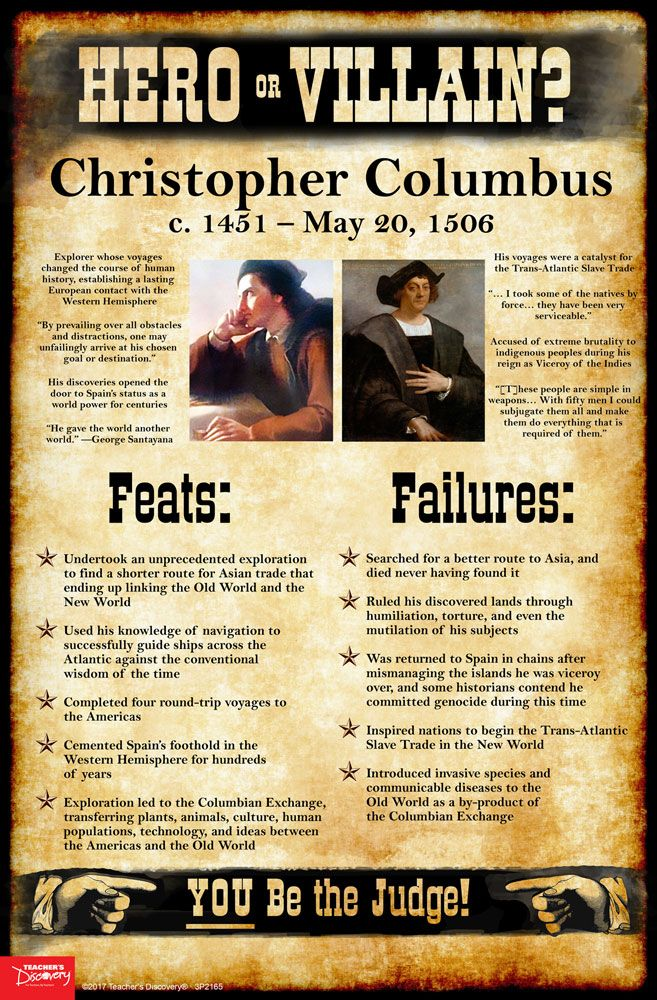 History tends to judge historical figures in extremes: Genghis Khan was a barbarian! Martin Luther was a religious hero! As teachers, it's tempting at times to present the world as black and white to our students: good or evil, friend or foe, hero or villain. Use this Christopher Columbus mini-poster to encourage students to take off the rose-colored glasses and see beyond the established historical narratives, into the real world of gray.   ©2017. 11 x 17 inches. Cardstock.