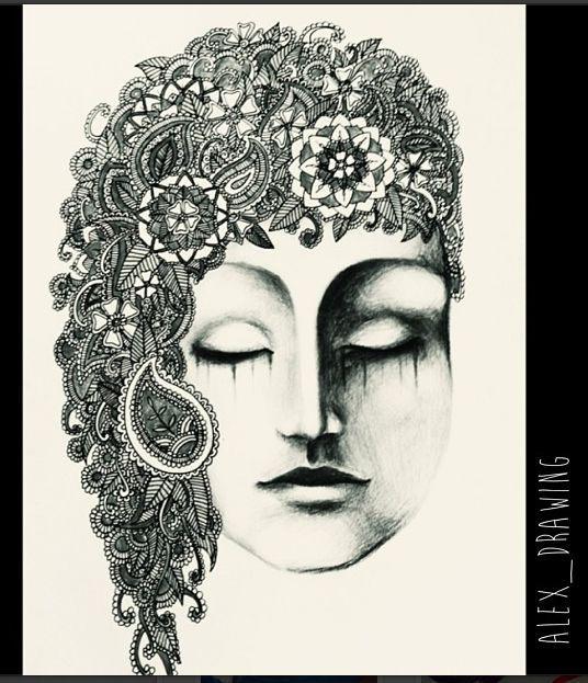 Mehndi Illustration Art Nouveau Portrait Face Black and White Mandala Henna Flowers Paisley by Alexandra Frances. Instagram @alex_drawing