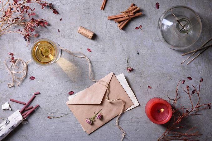 Love letter and wine by Iuliia Leonova on @creativemarket